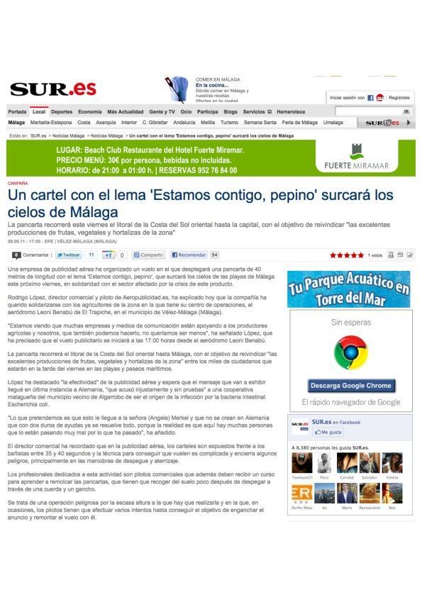 Campaña apoyo al pepino en el Diario Sur